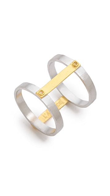 L'AGENCE Double Riveted Bar Ring