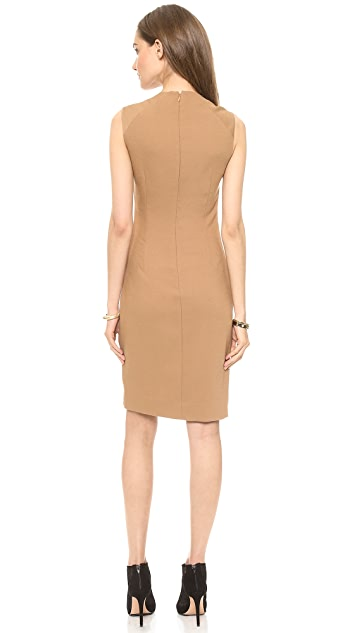 L'AGENCE U Neck Pleated Side Dress