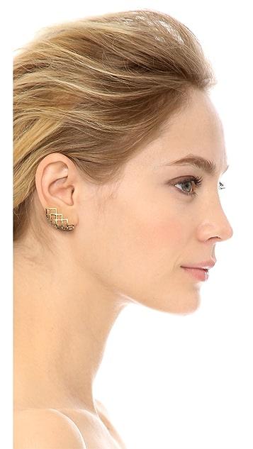Lady Grey Lattice Lobe Clip On Earrings