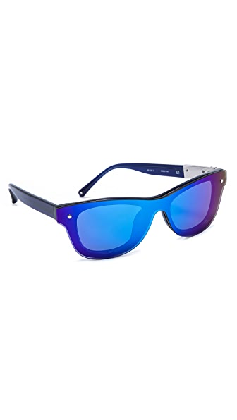 Linda Farrow for 3.1 Phillip Lim Blue Stripe Mirror Sunglasses