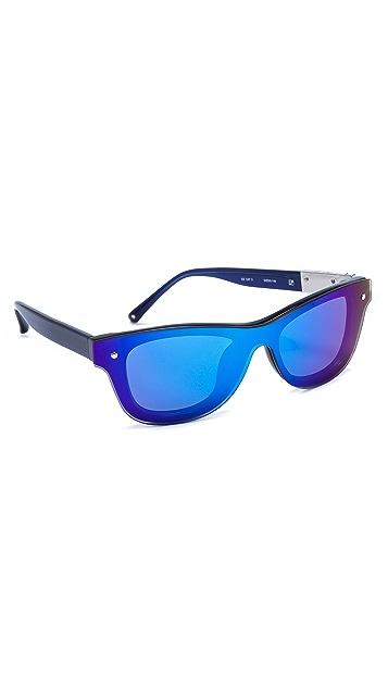 Linda Farrow for 3.1 Phillip Lim Blue Stripe Mirror Sunglasses