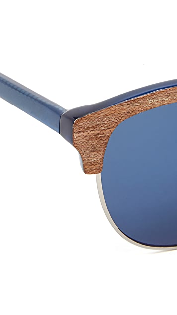 Linda Farrow for 3.1 Phillip Lim Wood Frame Round Sunglasses