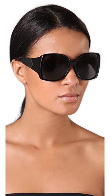 The Row Large Leather Jackie O Sunglasses
