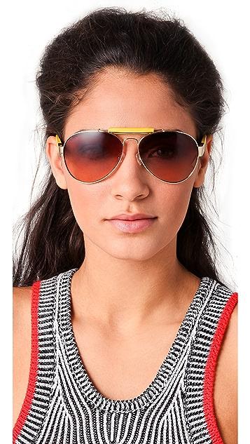 The Row Leather Aviator Sunglasses
