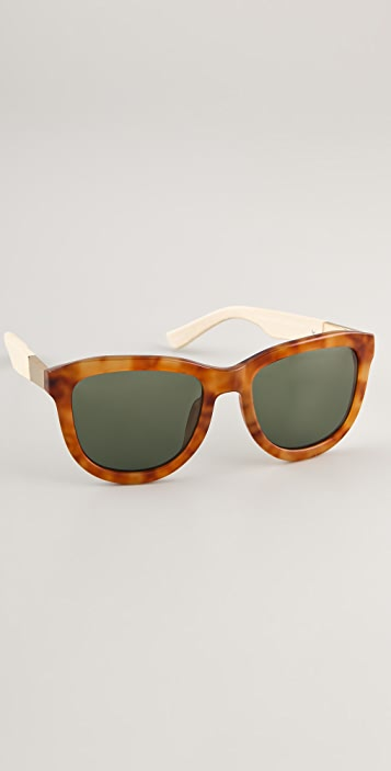 The Row Tortoiseshell Leather Detail Sunglasses