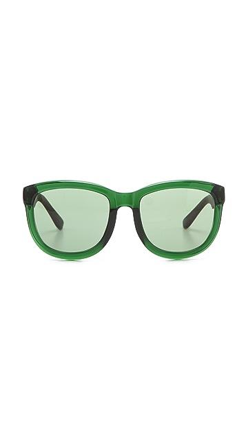 The Row Leather Sunglasses