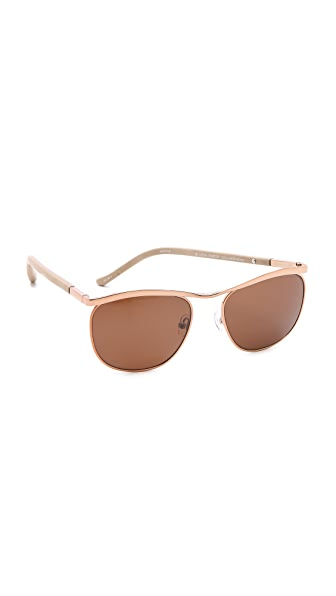The Row Bronze & Leather Sunglasses