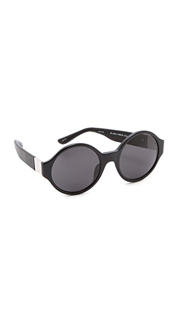 The Row Round Leather Sunglasses