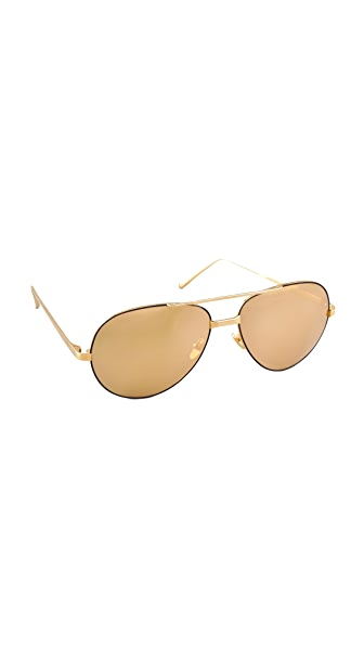 Linda Farrow Luxe 24 Karat Gold Sunglasses - Gold