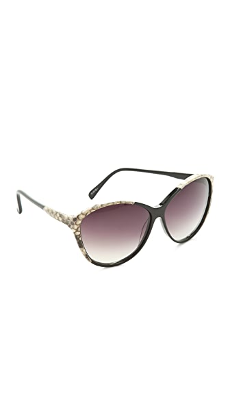 Linda Farrow Luxe Python Oversized Sunglasses