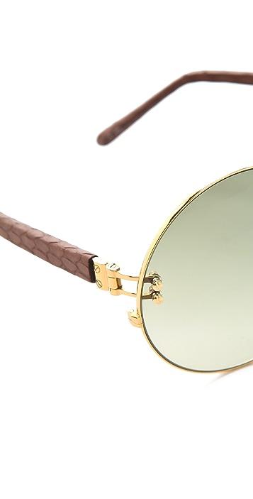 Linda Farrow Luxe Snakeskin Round Sunglasses