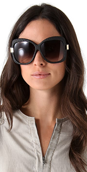 Linda Farrow Luxe Snakeskin Oversized Sunglasses