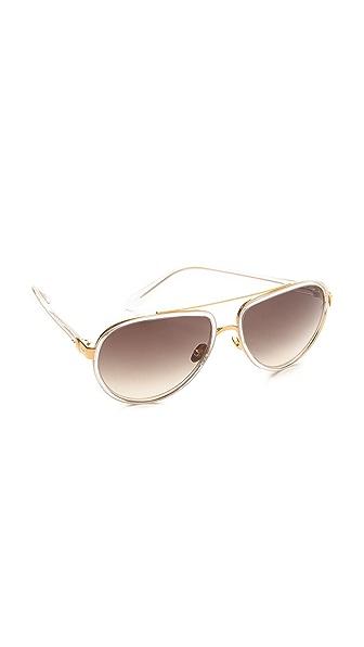 Linda Farrow Luxe Transparent Aviator Sunglasses