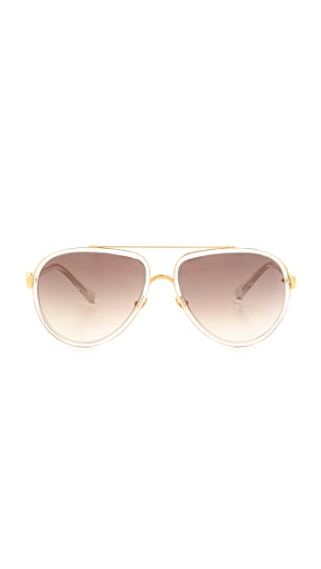 Linda Farrow Luxe Transparent Aviator Sunglasses