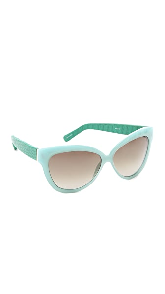 Linda Farrow Luxe Python Curved Square Sunglasses