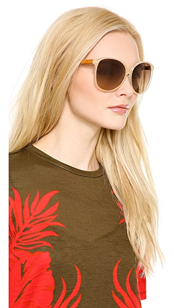 Linda Farrow Luxe Round Glam Snake Sunglasses