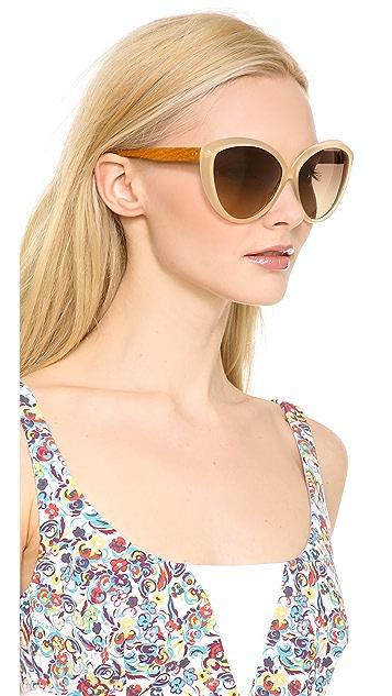 Linda Farrow Luxe Cat Eye Snake Sunglasses