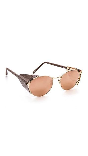 Linda Farrow Luxe Snakeskin Side Visor Sunglasses