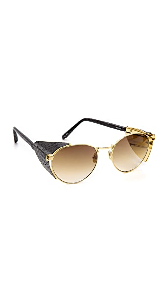 Linda Farrow Luxe Side Visor Snake Sunglasses