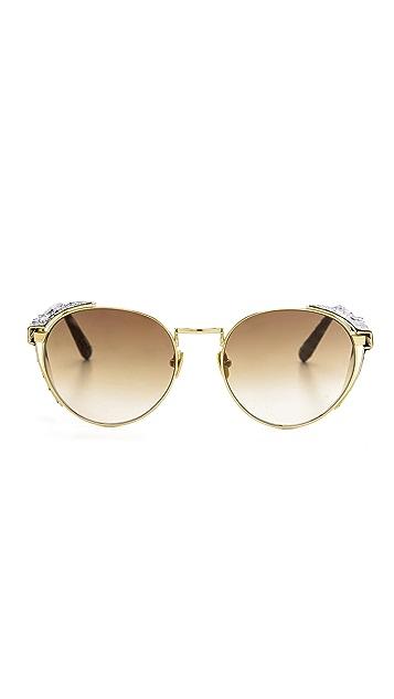 Linda Farrow Luxe Side Visor Snake Sunglasses