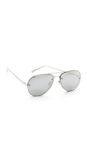 Linda Farrow Luxe White Gold Mirrored Aviators at Shopbop