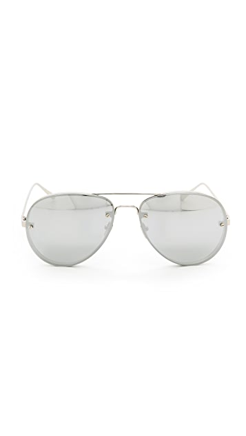 Linda Farrow Luxe White Gold Mirrored Aviators
