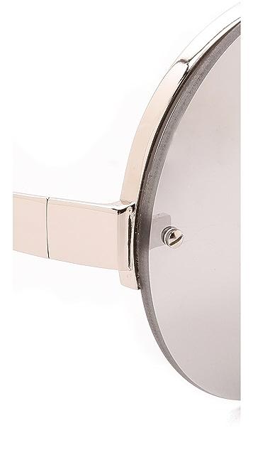 Linda Farrow Luxe White Gold Round Sunglasses