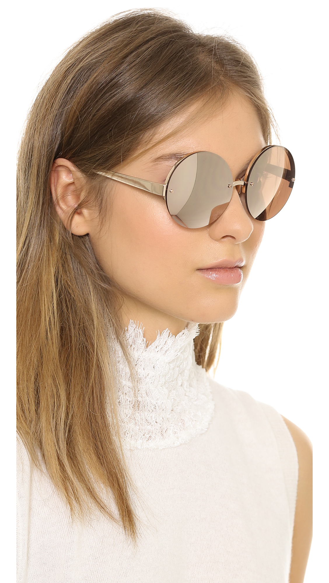 Mirrored round sunglasses Linda Farrow 7EIHObdD9