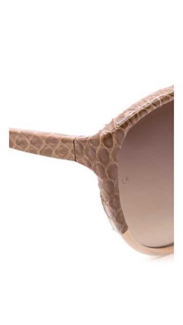 Linda Farrow Luxe Snakeskin Cat Eye Sunglasses