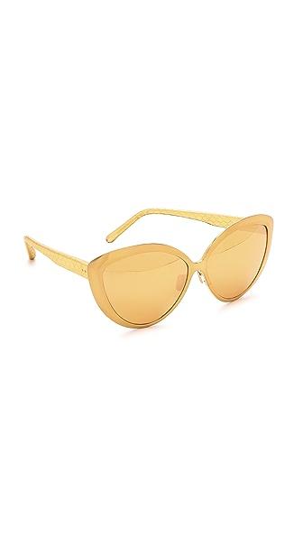 Linda Farrow Luxe Snakeskin Cat Eye Sunglasses
