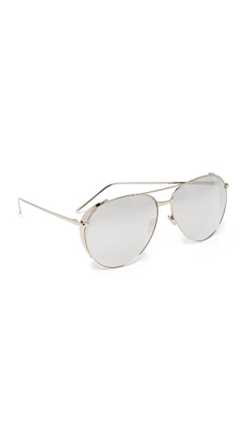 Linda Farrow Luxe Mirrored Aviator Sunglasses