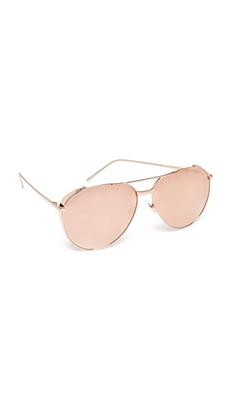 Linda Farrow Luxe 18k Rose Gold Plate Mirrored Aviator Sunglasses - Rose Gold/Rose Gold