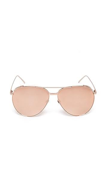 Linda Farrow Luxe 18k Rose Gold Plate Mirrored Aviator Sunglasses