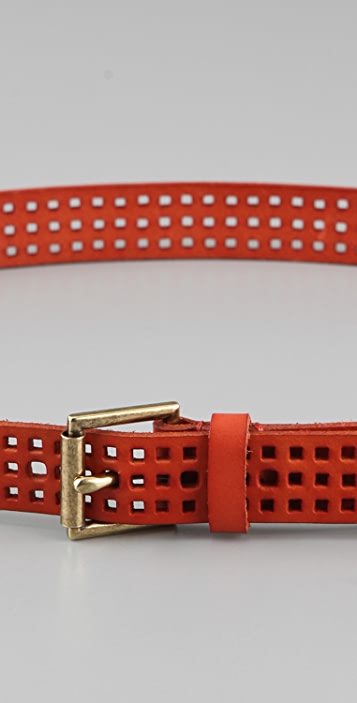 Linea Pelle Skinny Square Perforated Belt