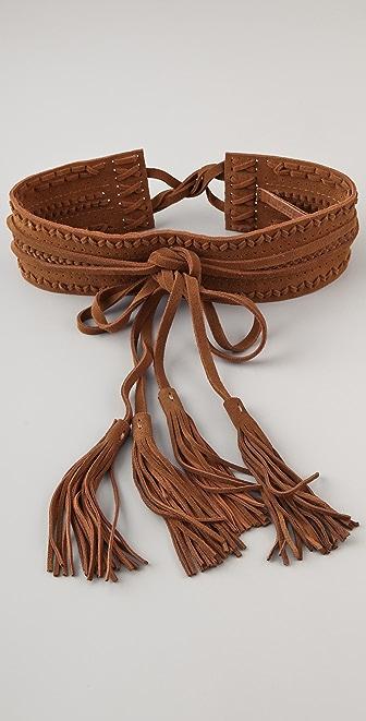 Linea Pelle Vintage Suede Double Wrap Waist Belt
