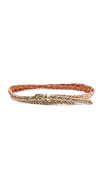 Linea Pelle Skinny Duo Tone Double Wrap Braid Belt