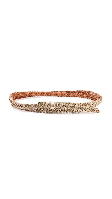 Linea Pelle Skinny Duo Tone Double Wrap Braid Belt