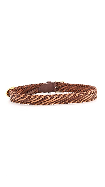 Linea Pelle Basic Braided Hip Belt with Metal Tip