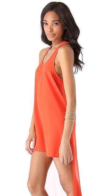 Line & Dot Sheer Tail Dress