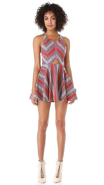 Line & Dot Triangle Cutout Zip Dress