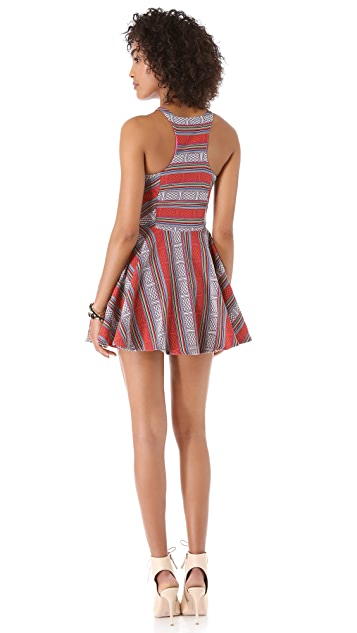 Line & Dot Triangle Cutout Zip Dress