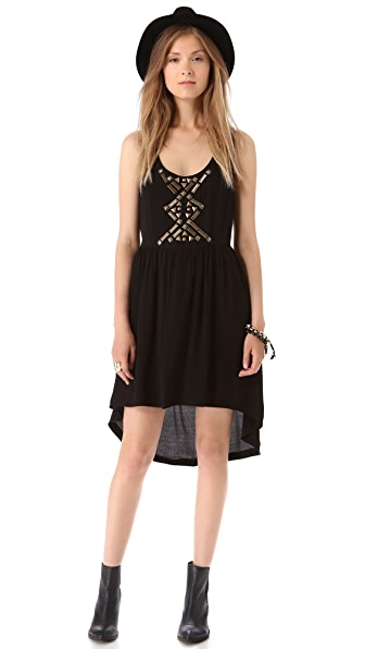 Line & Dot Embellished Cutout Dress