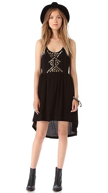 Line & Dot Embellished Cutout Dress