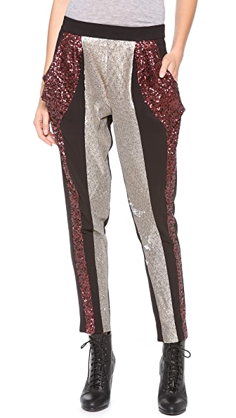 Line & Dot Colorblock Sequin Pants