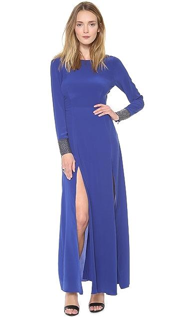 Line & Dot Deep Slit Maxi Dress