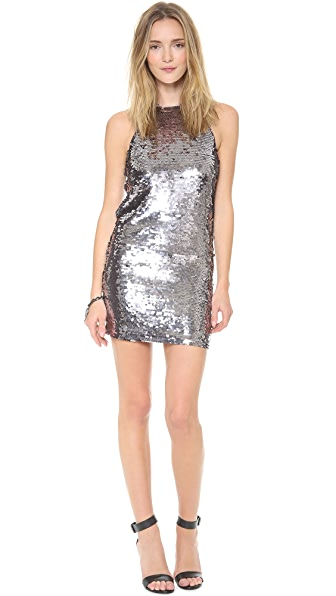 Line & Dot Mirror Sequin Halter Dress