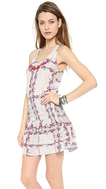 Line & Dot Ruching Mini Flare Dress