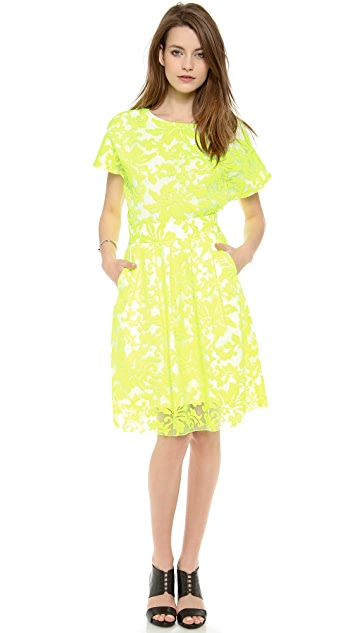 Line & Dot Embroidery Layered Skirt