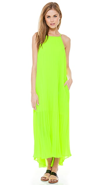 Line & Dot Pleated Maxi Dress