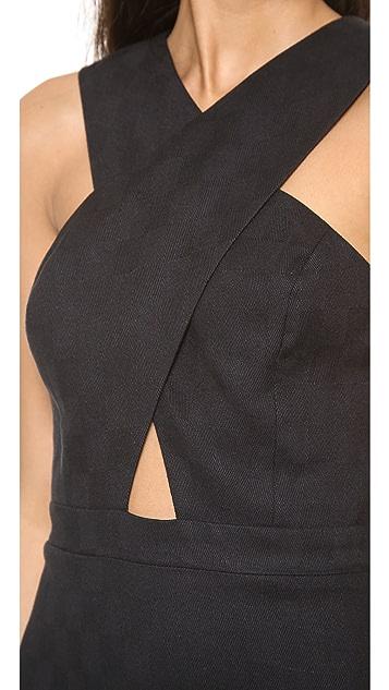 Line & Dot Crossover Neck Dress